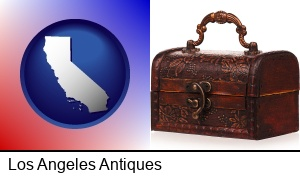 Los Angeles, California - an antique wooden chest