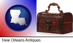 New Orleans, Louisiana - an antique wooden chest